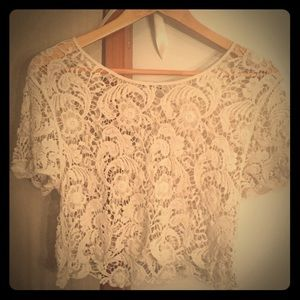 Lace crop short sleeve top from Express